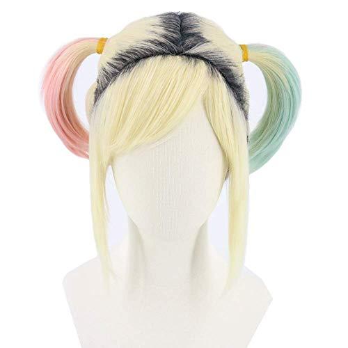 Harley Quinn peluca con raíces oscuras de las mujeres rubias cortas Mixta azules rosadas de la peluca dos coletas for el Carnaval de Halloween (Harley Quinn peluca) ZDWN ( Color : Harley Quinn Wig )