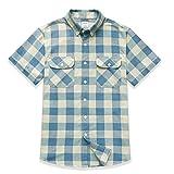 Dubinik® - Camisa de franela a cuadros para hombre, manga larga, corte normal, para tiempo libre azul claro L