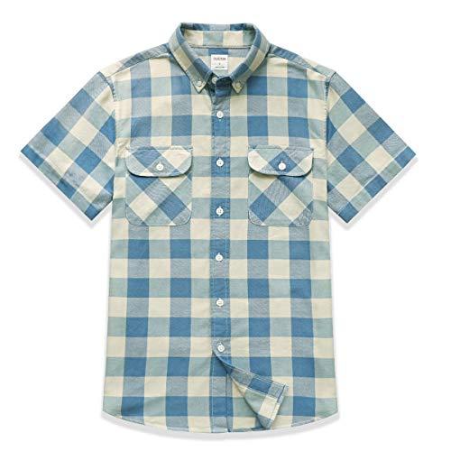Dubinik® Camisa de Manga Corta de Algodón a Cuadros Casual con Bolsillos para Hombre