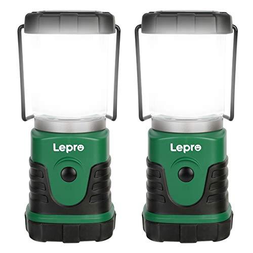 Lepro Linterna de Camping LED, Lámpara de Camping 350 LM (no incluida batería), Farol Camping Regulable 4 Modo de iluminación, Luz de Emergencia LED para Camping, Senderismo, Pesca, etc, Pack of 2