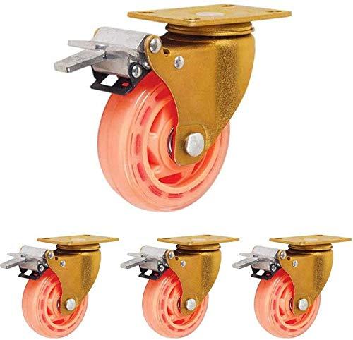 4 ruedas resistentes con ruedas de muebles de la carretilla de los frenos para las ruedas del banco de trabajo del carro de la compra 330kg/728lbs capacidad de la carga-5in
