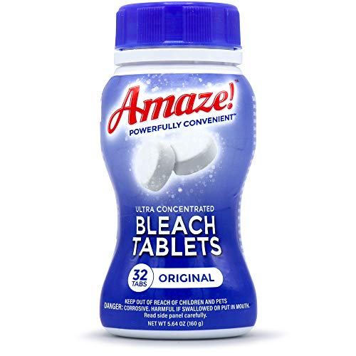 AMAZE! Ultra Concentrated Bleach Tabs for Laundry and Home Cleaning. (Case of 6 Bottles, Original Scent))