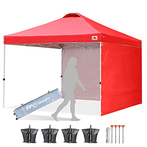 ABCCANOPY Canopy Tent Pop Up Canopy Outdoor Canopies with Sun Wall Tent Popup Beach Canopy Shade Canopy Tent with Wheeled Carry Bag, White