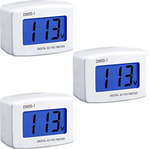 Flat US Plug AC 80-300V LCD Digital Voltmeter Voltage Measuring Monitor, AC 110V 220V Voltage Panel Power Volt Test Monitor Gauge Meter for Household Plug into Outlet to Measure Voltage (3)