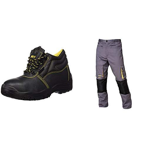 WOLFPACK LINEA PROFESIONAL 15018030 Botas Seguridad S3 Piel Negra Nº 42 + 15017090 Pantalon de trabajo Gris/Amarillo, Talla 42/44 M