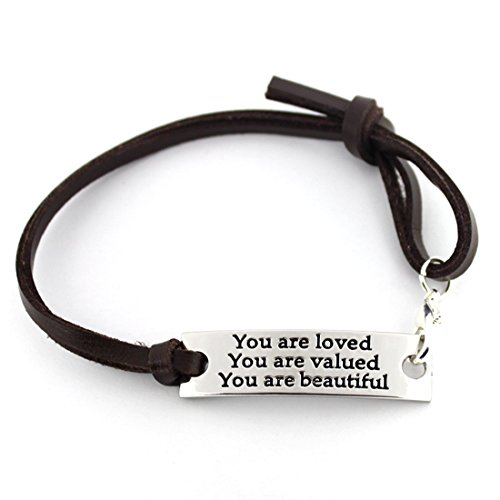 Inspirational Gifts For Women Saying stamped 'You are loved You are valued You are beautiful' leather inspirational bracelet