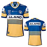 YAQA 2018-2020 Parramatta Eels Home Rugby Jersey T-Shirt, Polo De Manga Corta Tops Camiseta Deportiva Casual De Hombre Ropa De Fútbol Blue Yellow-L