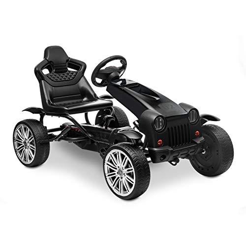 HOMFY Pedal Go Kart Children Ride on Racing Car Toys Adjustable Seat, Handbrake and Shift Lever (Black)