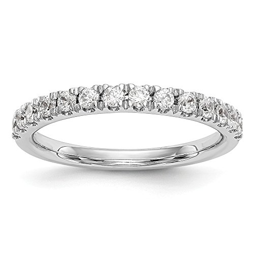 Diamond2Deal Damen 14 K Weiß Gold True Origin Lab-Grown Diamant Hochzeit Band Ring, VS/E 0,42 Karat