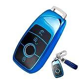 Funda Llave Mercedes Benz, Carcasa Llave Mercedes, Funda Compatible con Benz, para Mercedes Benz Clase E, S Class, 2017 hasta W213, Smart Remote Only (Azul)