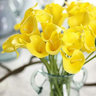 FRP Flowers 20 PCS Real Touch Calla Lily Flowers for Artificial Floral Arrangements, Bridal Bouquets, and Home Decor (Yellow)