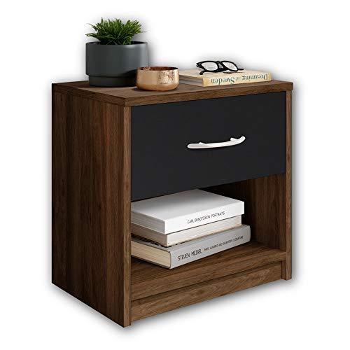 Stella Trading PEPE Nachttisch in Columbia Nussbaum Optik, Schwarz - Schlichter Nachtschrank mit einer Schublade passend zu jedem Bett & Schlafzimmer - 39 x 41 x 28 cm (B/H/T)