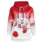 BUKINIE Nouveauté Hoodies De Noël Motif Bonhomme De Neige Sweatshirt Casual Kangourou Poches Tunique Tops Pull Pas Cher Automne Hiver Vestes(Y-Rouge,X-Large)