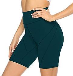 JOYSPELS Kurze Radlerhose Sporthose Damen Kurz Leggings, Biker Yoga Shorts, Dunkelgrün, M