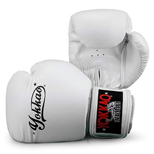YOKKAO Vertigo Muay Thai Boxing Gloves - Black, Red, Blue (Vertigo White, 16oz)