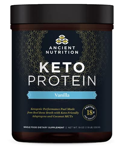 Keto Protein Powder by Ancient Nutrition, KetoPROTEIN with Fats from Bone Broth and MCT Oil, Vanilla, 15g Protein 11g Fat Per Serving, Gluten Free, 17 Servings (Packaging May Vary)