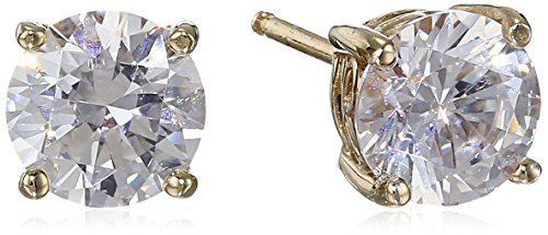Yellow Gold Plated Sterling Silver Stud Earrings set with Round Cut Swarovski Zirconia (2 cttw)