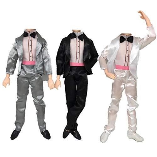 KHHGTYFYTFTY Ken Spielzeug Kleidung, 3pcs Bräutigam Anzug Kleidung Hemd Hosen für Boyfriend Toy Farbe schwarz, weiß und grau