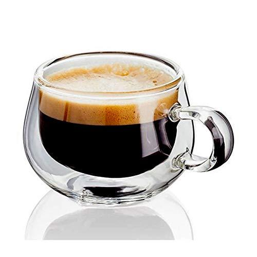 WxberG Tazas de café con doble pared de 150 ml para café, café, café o té