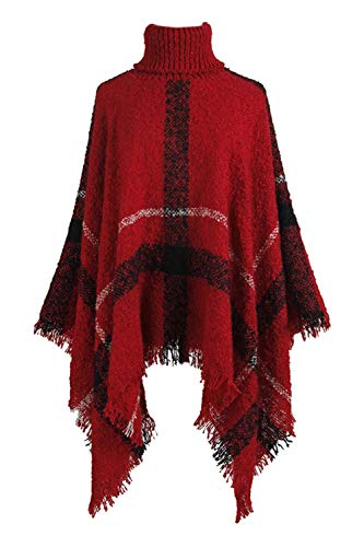 Fasumava Suéter para Mujer Invierno Casual Cuello Alto Borlas A Cuadros Poncho Capa Rojo One Size