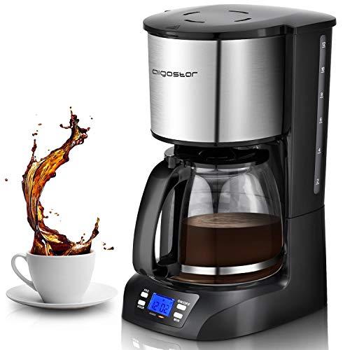 Aigostar Benno 30QUJ - Macchina da caffè americano e tè da 800 W con filtro riutilizzabile e piastra riscaldante con mantenimento calore, capacità 1,5 L, timer 24 ore, sistema antigoccia, Nero