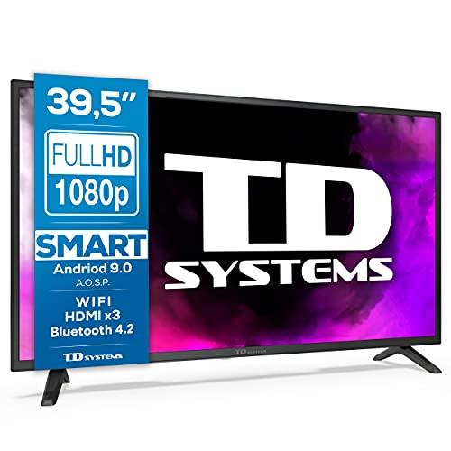 TD Systems K40DLJ12FS - Televisores Smart TV 39,5 Pulgadas Full HD Android 9.0 y HBBTV, 1100 PCI Hz, 3X HDMI, 2X USB. DVB-T2/C/S2, Modo Hotel. Televisiones