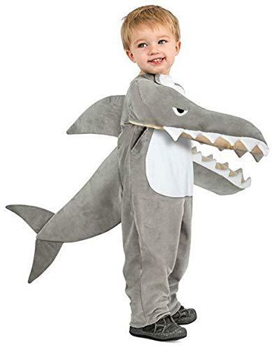 Unisex Kinder Baby Hai Kostüm Tierkostüm Party Outfit Gr. 92, grau