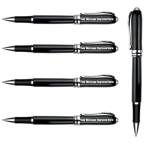 Personalized Roller Pen Refillable Quality Pens with Extra 10 Black Ink Refill -Custom Engraved With Your Name or Message,Gift for Groomsman, Wedding Party, School Graduation 5 PCS/Pack