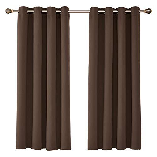 UMI Amazon Brand Cortinas Opacas con Aislamiento Térmico para Salón Oficina Hotel Decorativas con Ojales 2 Piezas 107x160cm Marrón