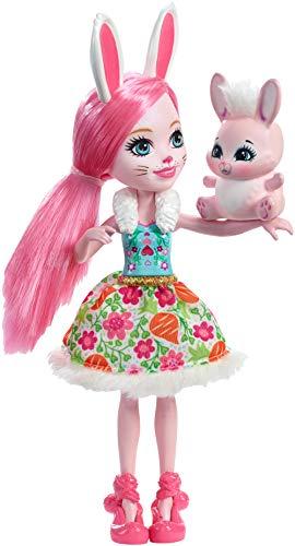 Enchantimals Mini-poupée Bree Lapin et Figurine Animale Twist, aux cheveux roses avec jupe à motifs en tissu, jouet enfant, DVH88