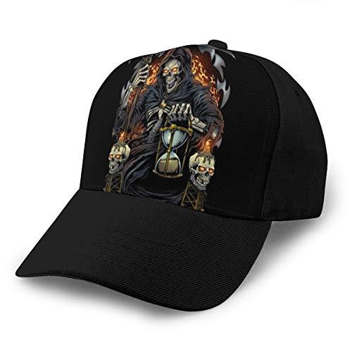 Hongyan Baseballkappe Sensenmann mit Sanduhr-Hut, verstellbar, atmungsaktiv, für Herren und Damen, Snapback, Trucker-Kappe, schwarz