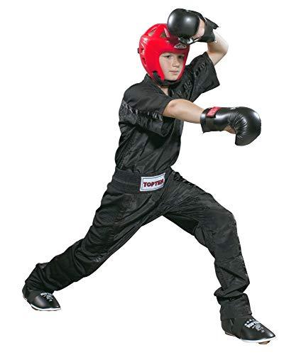 TOP Ten Kickboxhose Mesh für Kinder 140 komplett schwarz-schwarz Hose Kickboxen Satinhose 1605