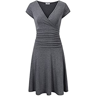 Clearlove Women's V-Neck Sexy Crossover Ruched Flare Fit Short Dress (Grey, S):Carsblog