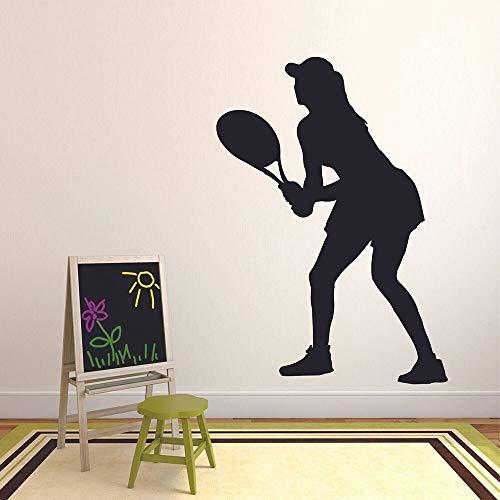Jugador de tenis calcomanía de pared deportes femeninos silueta arte puerta ventana vinilo pegatina chica dormitorio estadio decoración interior mural