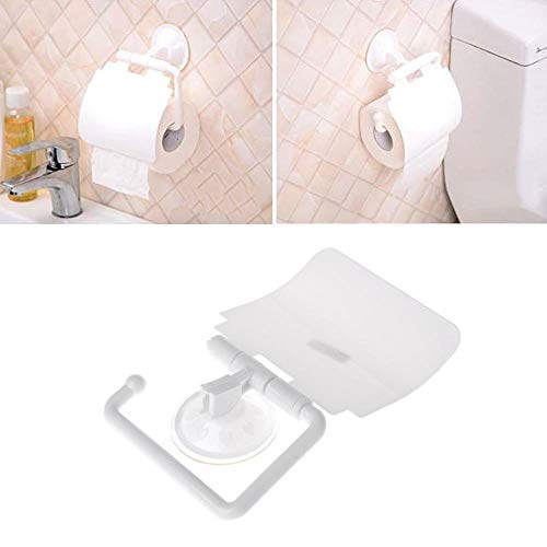 WEMUR Portarollos Papel Higienico Montado en la Pared de plástico Ventosa Cuarto de baño WC Titular del Rollo de Papel con Tapa Accesorios baño