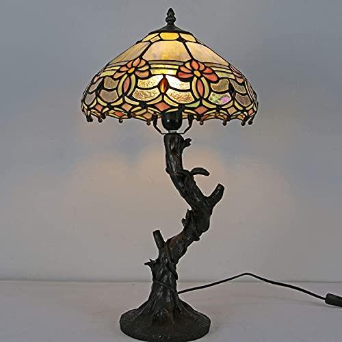 Lampada da tavolo in stile Tiffany, lampada da tavolo con paralumi in vetro colorato rosa, lampade da comodino per resina per camera da letto per la camera da letto dell'hotel Regalo di illuminazione