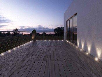 12 x Bodeneinbaustrahler, 4 LEDs pro Strahler, Edelstahl rund Bodenleuchte - Innen und Aussen - Einfahrt Auffahrt Wegbeleuchtung Garten Terrasse Treppen - Kaltweiß - Wasserdicht [Energieklasse A++]