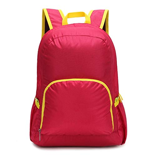 HLJ Outdoor Folding Backpack Men and Women Couple Models 25L Walking Zipper Outdoor Backpack Hiking Camping Backpack Unisex Outdoor Recreation (Color : Red)