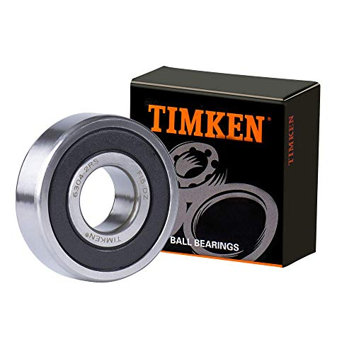 TIMKEN 6304-2RS 2 Pcs Double Rubber Seal Bearings 20x52x15mm, Pre-Lubricated and Stable Performance and Cost Effective, Deep Groove Ball Bearings.