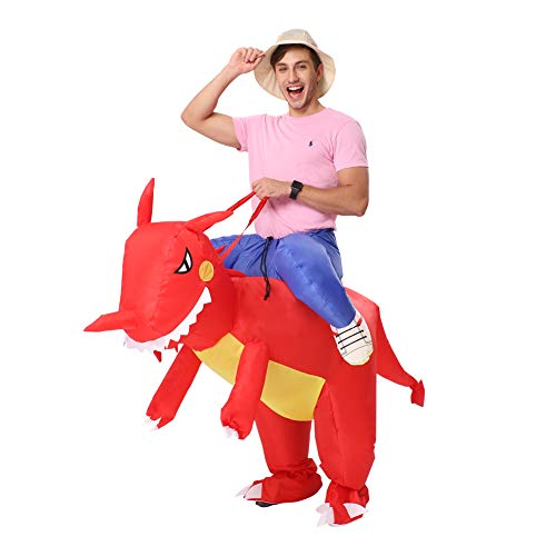 Decalare Inflatable Dinosaur T-REX/Bull Costumes Fancy Costume Halloween Party Cosplay Fantasy Blow up Costume Adult/Kids (Adults-Red Dinosaur)