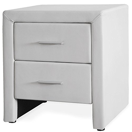 Corium Nachttisch mit 2 Schubladen weiß aus Kunstleder Beistelltisch