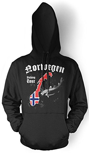 Uglyshirt87 Norwegen Fishing Tour Männer und Herren Kapuzenpullover | Angler Petri Heil Geschenke Fishing (Schwarz, L)