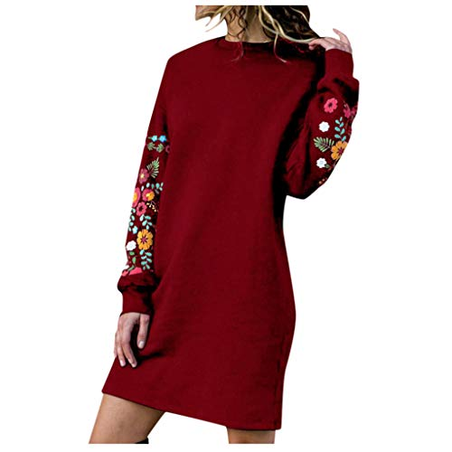 Xuthuly Herbst Winter Frauen Retro Sweet Floral Stickerei Langarm Sweatshirt Kleid Damen Casual Solid Color Round Kragen Plus Size Minikleid