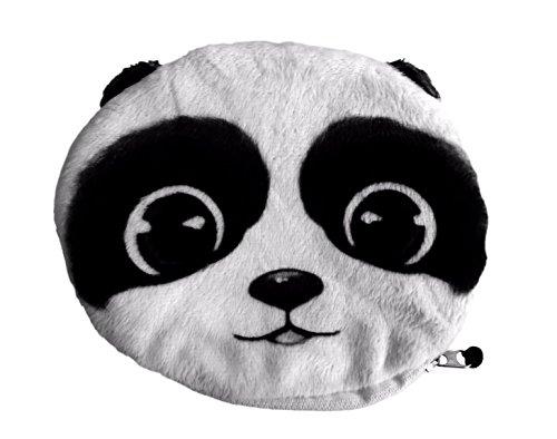Borsellino / Portamonete / Portafoglio Soffice e Morbido per Ragazze e Donne, con design animali Panda teneri, Occhioni di Orso, Orecchie di Panda e Coda Morbida (Colore: Bianco e Nero)