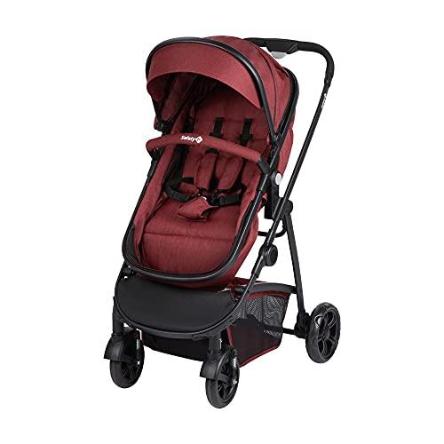Safety 1st Kinderwagen Hello 2-in-1, zusammenfaltbarer Buggy mit wandelbarem Sitzeinhang zu Babywanne, inkl. Regenverdeck und Maxi-Cosi Adapter, nutzbar ab der Geburt bis max. 15 kg, Ribbon Red Chic