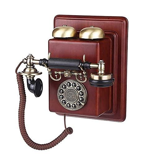 Sywlwxkq Hermoso teléfono, teléfono Antiguo, teléfono de casa de casa de línea Fija Retro Vintage, teléfono Vintage/teléfonos Retro con Cuerpo de Madera y Metal, Acabado de Metal Bronce r