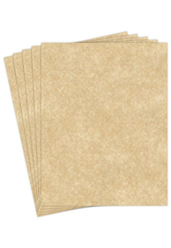 """Aged Stationery Parchment Recycled Paper   65Lb Cover Cardstock   8.5"""" x 11"""" Inches   50 Sheets Per Pack"""