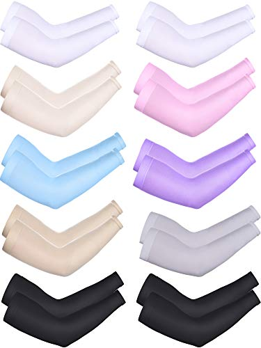 10 Pairs Cooling Sun Sleeves UV Protection Arm Sleeves Arm Cover Sleeve for Men Women (Black, White, Beige, Pink, Purple, Grey, Skin Color, Sky Blue, Knitted Ice Silk)