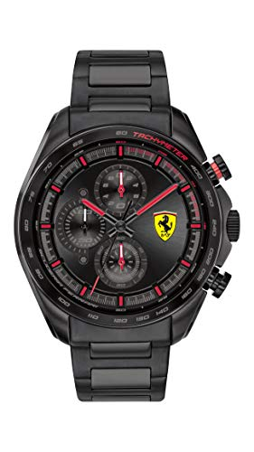 Ferrari Men's SPEEDRACER Quartz Watch with Stainless Steel Strap, Black, 20 (Model: 0830654)