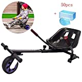 WFLRF Go Kart for Electric Scooter Adjustable Hoverkart Seat Compatible with Classic 6.5' to 10' and Off Road 8.5' Self Balance Board Follow Your Board Sliding and Performing Tricks,Black